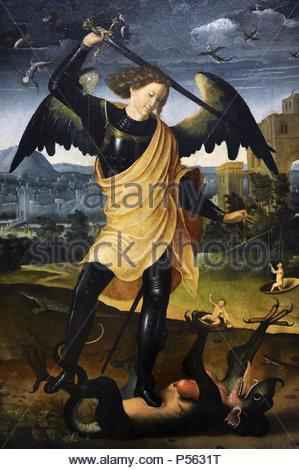 The Archangel Michael with the dragon, c.1500. Unknow. Spanish author. National Museum of Art. Copenhagen. Denmark. - Stock Photo