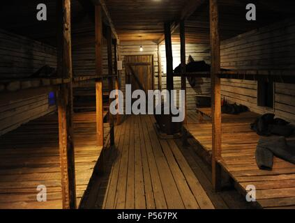 Occupation of Latvia by the Soviet Union. Recreation of gulag barracks where people on forced labor camps lived. 1941. Occupation Museum of Latvia. Riga. - Stock Photo