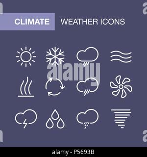 Conditioning icons set for simple flat style weather ui design. - Stock Photo