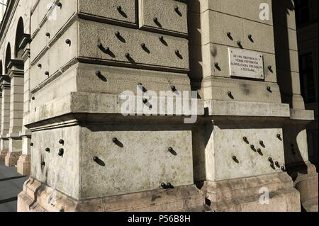 Hungary. Budapest. Steel balls on the facade of the Ethnographic Museum in memory of people killed by the Hungarian communist regime on October 25, 1956, after the failure of the Hungarian Revolution. - Stock Photo