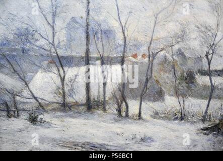 Paul Gauguin (1848-1903). French painter. Winter Landscape, 1879. Oil on Canvas, Museum of Fine Arts. Budapest. Hungary. - Stock Photo