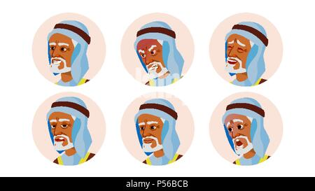 Old Arab Avatar Icon Man Vector. Traditional Clothes. Facial Emotions. Round Portrait. Cute Employer. Happiness, Unhappy. Beauty Gentleman. Isolated Flat Cartoon Illustration - Stock Photo