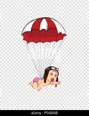 Its a girl cartoon vector clip art with cute baby in pilot hat falling down with red parachute on transparent background. Baby shower greeting card de - Stock Photo