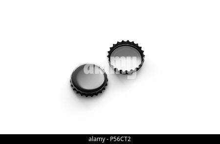 Blank black beer lid mockup, side view, front and back side, 3d rendering. Empty metal soda cap mock up design template. Clear bottle cover isolated. - Stock Photo