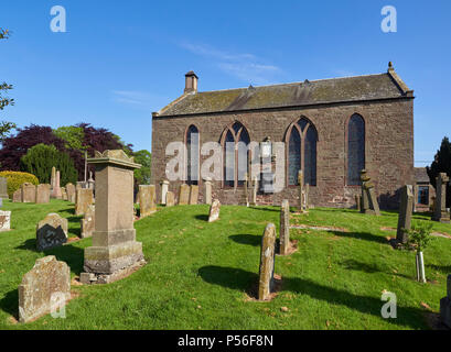 A side view of Monikie Kirk, and Old Red Sandstone constructed Church near to Dundee in Angus, Scotland. - Stock Photo
