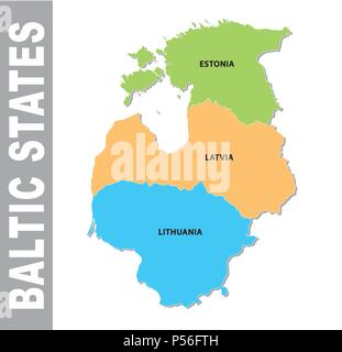 Colorful baltic states administrative and political vector map - Stock Photo