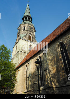 The tower of the Kreuzkirche, the oldest church in Hanover, Germany - Stock Photo