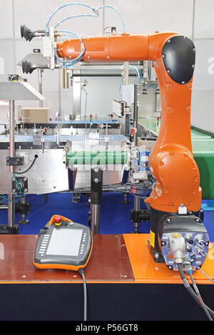 Articulated Robot Arm at Packaging Line in Automated Factory - Stock Photo