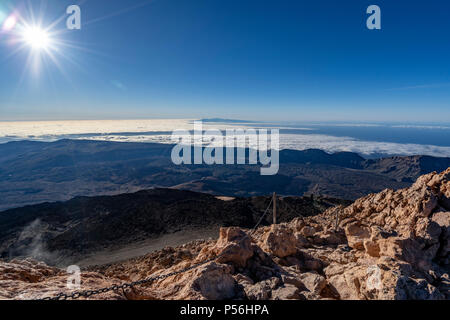 Canary Islands, Tenerife, Aerial views from the Summit of Mount Teide, at 3718m altitude. - Stock Photo