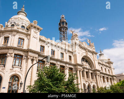 tracking shot on the post office building in Valencia, Spain - Stock Photo
