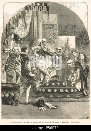 Dismission of the Chaseabout Raid rebels, the Abbot of Kilwinning and James Stewart, 1st Earl of Moray,  by Queen Elizabeth I, 1561 - Stock Photo