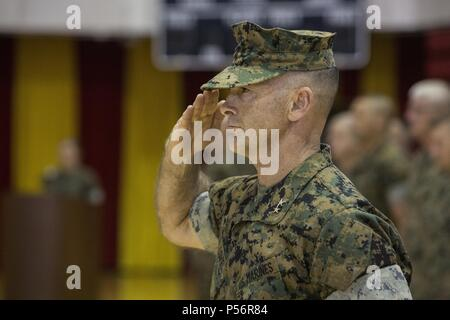 U.S. Marine Corps Maj. Gen. John K. Love, the Commanding General of 2nd Marine Division, salutes during the 6th Marine Regiment change of command ceremony at Camp Lejeune, N.C. June 12, 2018, June 12, 2018. During the ceremony, Col. Matthew S. Reid relinquished command of the unit to Col. Daniel T. Canfield Jr. (U.S. Marine Corps photo by Pfc. Nathaniel Q. Hamilton). () - Stock Photo