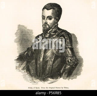 King Philip II of Spain, Felipe II, called the Prudent, el Prudente, King of Spain, King of Portugal, King of Naples and Sicily, jure uxoris King of England and Ireland as co ruler with Queen Mary I - Stock Photo
