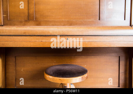 Old wooden vintage piano keys on wooden musical instrument in front view