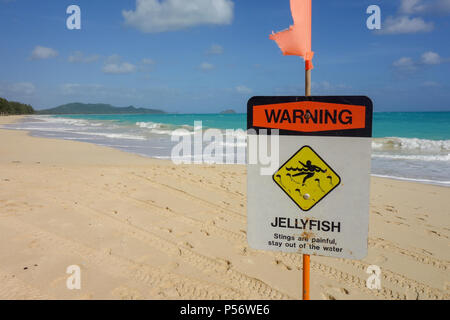 Waimanalo Beach Oahu Hawaii scene with warning jellyfish danger sign - Stock Photo