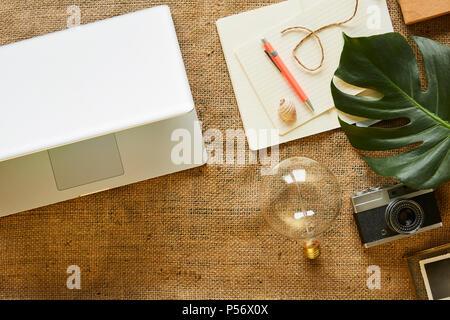 urban lifestyle digital nomad working around the world writing blog - Stock Photo