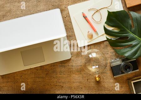 digital nomad vintage gadgets modern lifestyle mix blog - Stock Photo