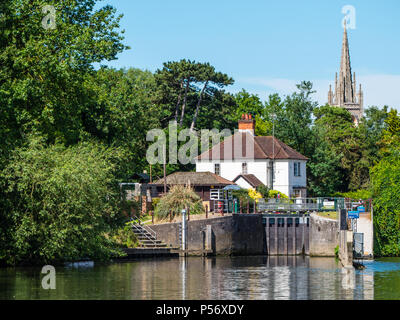 View of All Saints Church, Marlow Lock, River Thames, Marlow, Buckinghamshire, England, UK, GB. - Stock Photo