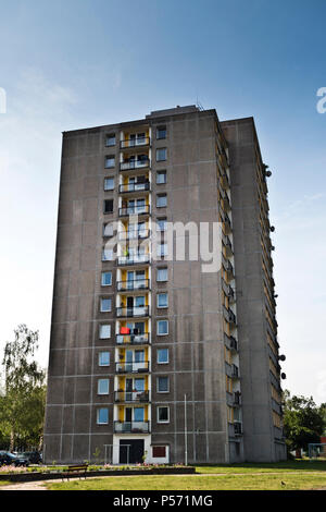 typical pre-fabricated or panelak residential multi store building in Czech republic, built mostly in the communist era, from 1959 to 1995. - Stock Photo