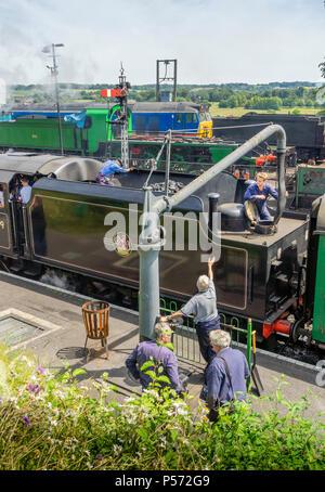 Mid Hants Railway Stanier Black 5 No.45379 Locomotive at Ropley heritage railway train station on the Watercress Line in Hampshire 2018, England, UK - Stock Photo