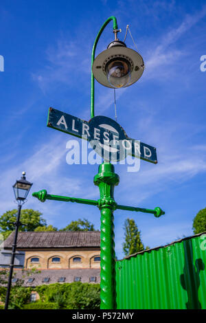 Blue vintage sign at Alresfod train station  Watercress Line heritage railway line in Alresford, Hampshire, England, UK - Stock Photo
