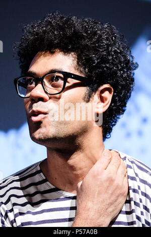 London, UK. 25th June, 2018. London, UK. 25th June, 2018. Richard Ayoade appears on Mark Kermode Live in 3D on Monday 25 June 2018 held at BFI Southbank, London. Pictured: Richard Ayoade. Credit: Julie Edwards/Alamy Live News - Stock Photo