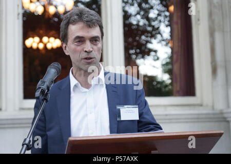 London, UK. 25th June, 2018. Tom Brake speaks at National Liberal Club Diplomatic Reception. Liberal Democrat MP for Carshalton and Wallington, Tom Brake, gave a keynote speech at the annual Diplomatic Reception at the National Liberal Club, stating that Brexit promised to be full of pitfalls, citing the fishing industry as an example of unanticipated problems relating to market access and fishing in EU waters, i.e. Eire. Credit: Peter Hogan/Alamy Live News - Stock Photo