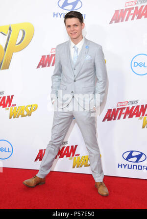 Los Angeles, California, USA . 25th June, 2018. Actor Ty Simpkins attends the World Premiere of Disney and Marvel's 'Ant-Man And The Wasp' on June 25, 2018 in Hollywood, California. Photo by Barry King/Alamy Live News - Stock Photo
