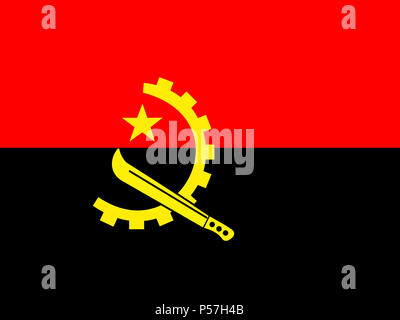 Official national flag of Angola - Stock Photo