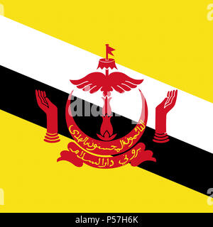 Official national flag of Brunei Darussalam - Stock Photo
