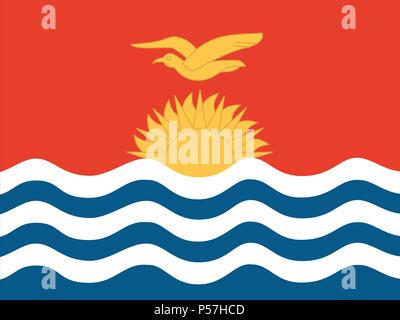 Official national flag of Kiribati - Stock Photo
