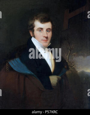 THOMAS COLE (1801-1848) English-born American painter. Portrait by Thomas Seir Cummings about 1827 - Stock Photo