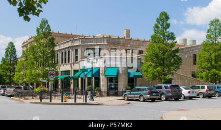 ASHEVILLE, NC, USA-24 JUNE 18: The Grove Arcade at the corner of Page Ave. and Battle Square. - Stock Photo
