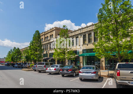 ASHEVILLE, NC, USA-24 JUNE 18: The Grove Arcade, comprising an entire block, and dominating the downtown area. - Stock Photo