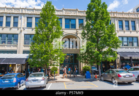 ASHEVILLE, NC, USA-24 JUNE 18: The Grove Arcade, comprising an entire city block in downtown Asheville. - Stock Photo