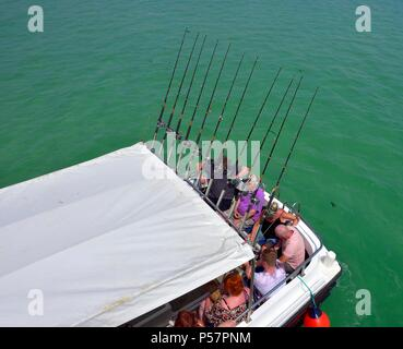 Leisure boat trip in a fishing boat, St ives,Cornwall,England,UK