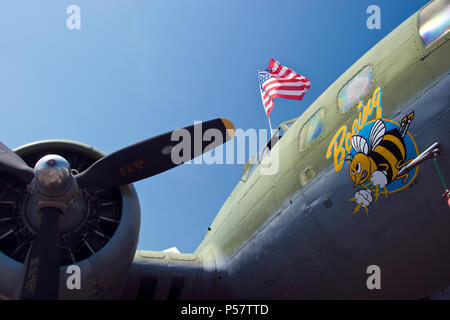 The nose art of the Boeing B-17 'Boeing Bee,' a World War Two era bomber at The Museum of Flight, Boeing Field, Washington. - Stock Photo