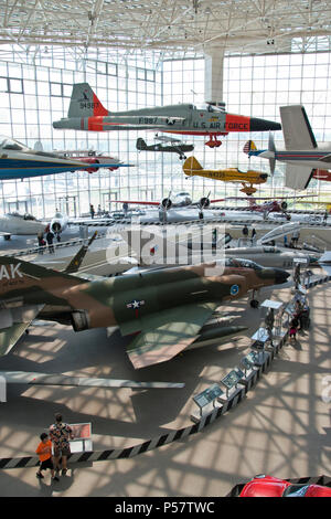 A 1959 Northrup; YF-5A Freedom Fighter hangs above a 1964 McDonnell F-4 Phantom jet fighter at the Museum of Flight, Tukwila, Washington. - Stock Photo