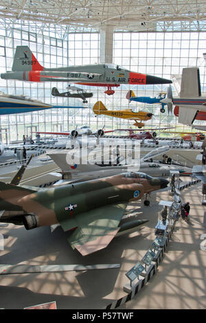 A 1959 Northrup; YF-5A Freedom Fighter hangs above a 1964 McDonnell F-4 Phantom jet fighter in the Museum of Flight, Boeing Field, Tukwila,Washington. - Stock Photo