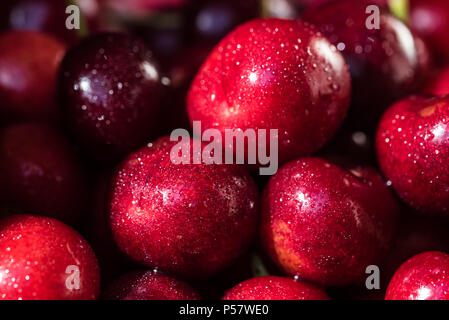 Sweet ripe cherries background close - Stock Photo