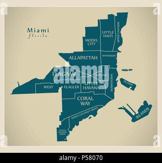 Map Miami Florida.Miami Florida Map With Neighborhoods And Modern Round Shapes Stock