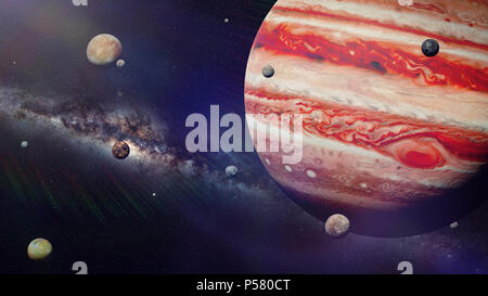 planet Jupiter with some of the 69 known moons lit by the Sun and the Milky Way galaxy (3d space render, elements of this image are furnished by NASA) - Stock Photo