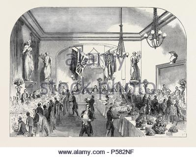 GRAND BANQUET TO THE LORD MAYOR OF LONDON, AT HASTINGS. - Stock Photo