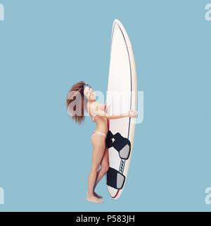 Enjoying life surfer girl - Stock Photo