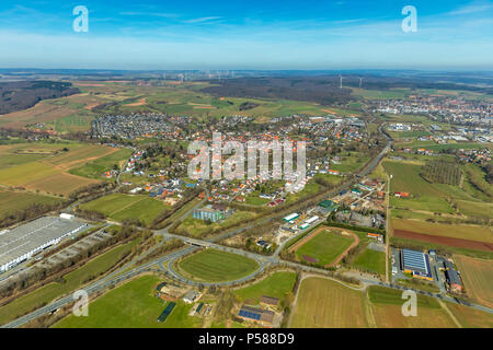 District Mengerinhausen in Bad Arolsen, district Waldeck-Frankenberg, Hesse, Germany, Bad Arolsen, DEU, Europe, aerial view, birds-eyes view, aerial v - Stock Photo