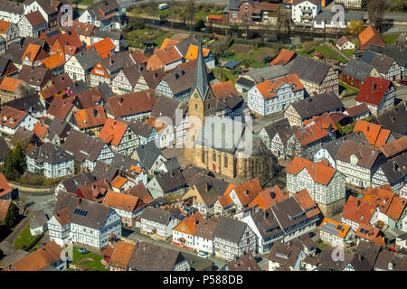 District Mengerinhausen in Bad Arolsen, with St. George's Church is a typical for the late Middle Ages Gothic hall church, Waldeck-Frankenberg distric - Stock Photo