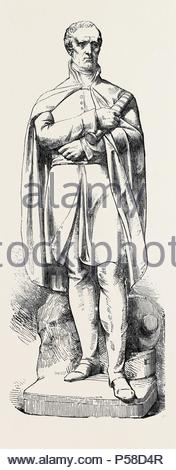 MARBLE STATUE OF THE LATE DUKE OF WELLINGTON, BY NOBLE. JUST ERECTED AT THE EAST INDIA HOUSE. - Stock Photo