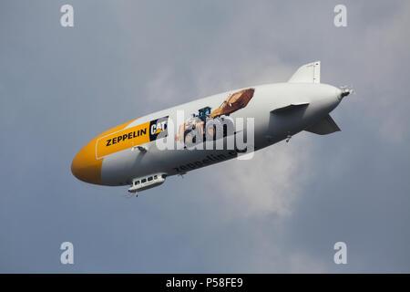 German airship Zeppelin NT pictured in Prague, Czech Republic. - Stock Photo