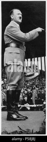 Adolf Hitler Addressing Youth at Nuremburg Rally (Reichspareitag), Nuremburg, Germany, September 1935 - Stock Photo