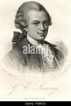 Gotthold Ephraim Lessing (1729-81), German Writer, Philosopher, Dramatist, Publicist and Art Critic, Engraving, 1873 - Stock Photo